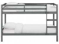 Etagenbett Massivholz ANICET + Lattenrost - 2x90x200cm - Grau