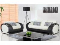 Couchgarnitur 3+1 HELIADES - Elfenbein-Schwarz