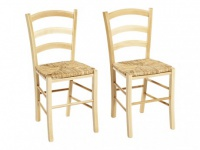 Stuhl 2er-Set Holz massiv PAYSANNE - Natur