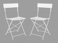 Gartenstuhl Metall 2er-Set Nebi - Weiß