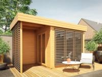 Gartenhaus Blockhaus Holz AMAKO mit überdachter Terrasse (10, 2m²)