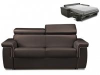 Schlafsofa 2-Sitzer ALTESSE - Braun mit Ziernaht Beige - Liegefläche: 120cm - Matratzenhöhe: 22cm