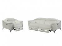 Relaxgarnitur Leder elektrisch DALOA 3+1 - Weiß