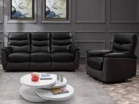 Relaxgarnitur Leder & Stoff elektrisch 3+1 GALWAY