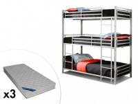 Set Etagenbett ELOUAN + Lattenrost + 3 Matratzen- 3x90x190 cm