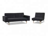 Couchgarnitur mit Bettfunktion Stoff 3+1 SEDUVA - Anthrazit