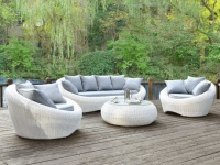 Polyrattan Lounge Sitzgruppe Whiteheaven (4-tlg.) - Weiß & Grau