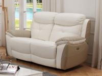 Relaxsofa 2-Sitzer Leder LUGO - Weiß/Beige