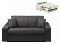 Schlafsofa 2-Sitzer Stoff EMIR - Anthrazit - Liegefläche: 120cm - Matratzenhöhe: 14cm