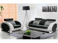 Couchgarnitur 3+1 HELIADES - Schwarz-Elfenbein