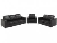 Couchgarnitur 3+2+1 Ackley - Schwarz