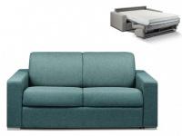 Schlafsofa 2-Sitzer Stoff CALITO - Blau - Liegefläche: 120 cm - Matratzenhöhe: 18cm