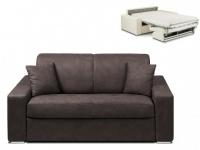 Schlafsofa 2-Sitzer Stoff EMIR - Braun - Liegefläche: 120cm - Matratzenhöhe: 14cm