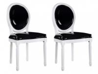 Stuhl 2er-Set LOUIS XVI - Schwarz-Weiß