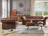 Chesterfield Ledergarnitur Clotaire 3+1 - Vintage Leder - Braun