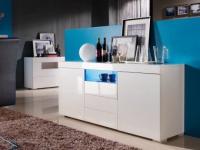 Sideboard Hochglanz LED Mercure - Weiß