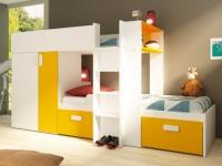 Etagenbett JULIEN + Lattenrost - 2x90x190cm - Gelb&Weiß