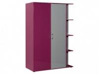 Kleiderschrank JACINTHE - 2 Türen - mit Regal, Spiegel & Kleiderhaken