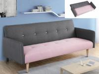 Schlafsofa Klappsofa 3-Sitzer Leinen Maurice - Limited Edition - Grau-Rosa