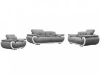 Ledergarnitur Smiley 3+2+1 - Grau & Weiß