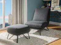 Sessel + Fußhocker Stoff BAMOLA - Grau