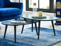 Couchtisch Holz massiv 2er-Set Pamy - Blau