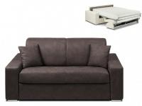 Schlafsofa 2-Sitzer Stoff EMIR - Braun - Liegefläche: 120cm - Matratzenhöhe: 22cm