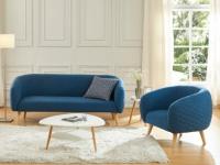 Couchgarnitur 3+1 Stoff PENNY - Blau