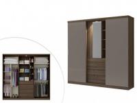 Kleiderschrank BODIL mit Spiegel - 5 Schiebetüren - Braun-Taupe
