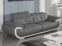 Ledersofa 3-Sitzer Smiley - Grau & Weiß