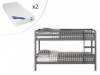 Set Etagenbett Massivholz ANICET + 2 Matratzen - 2x90x200cm - Grau