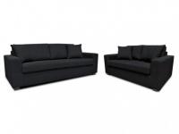 Couchgarnitur Stoff Yudo 3+2 - Schwarz