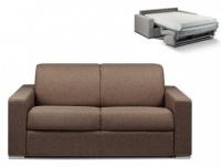 Schlafsofa 2-Sitzer Stoff CALITO - Braun - Liegefläche: 120 cm - Matratzenhöhe: 22cm