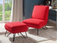 Sessel + Fußhocker Stoff BAMOLA - Rot
