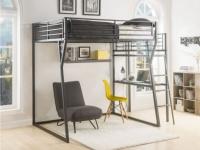 Hochbett mit Schreibtisch CAZEL + Lattenrost - 140x190cm