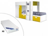 Set Etagenbett JULIEN + Lattenrost + 2 Matratzen - 2x90x190cm - Gelb&Weiß