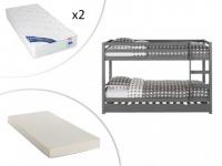 Set Etagenbett Ausziehbett Massivholz ANICET + Lattenrost + 2 Matratzen - 2x90x200cm