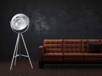Stehlampe Stehleuchte Tripod Metall Movie - Höhe: 166 cm - Weiß-Silber