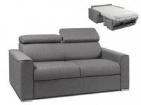 Schlafsofa 2-Sitzer Stoff VIZIR - Grau - Liegefläche: 120 cm - Matratzenhöhe: 18cm