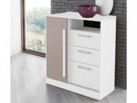 Kommode DEVY - 1 Ablage, 1 Tür & 3 Schubladen - Weiß & Taupe