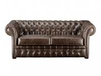 Chesterfield Ledersofa 2-Sitzer Clotaire - Vintage Leder - Braun