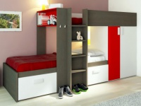 Etagenbett JULIEN + Lattenrost - 2x90x190cm - Taupe&Rot