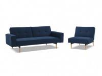 Couchgarnitur mit Bettfunktion Stoff 3+1 SEDUVA - Blau