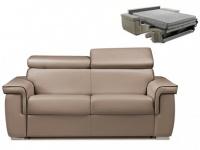 Schlafsofa 2-Sitzer ALTESSE - Taupe mit Ziernaht Braun - Liegefläche: 120cm - Matratzenhöhe: 18cm