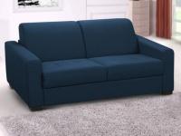 Schlafsofa Stoff Express Bettfunktion 3-Sitzer AMYR - Blau - Matratzenhöhe: 14 cm