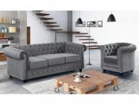 Couchgarnitur 3+1 Samt Chesterfield ANNA - Grau