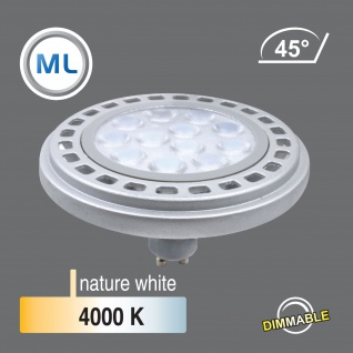 MILI Qpar111 LED dimmbar Leuchtmittel 12W GU10 4000K Neutralweiss 230V 900lm Silber 45° Reflektor 111mm Durchmesser - ersetzt 90W Halogen - Vorschau 2