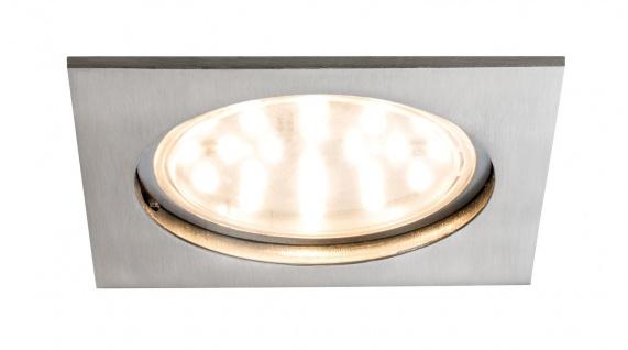 Paulmann 927.84 Premium Einbauleuchte Set Coin klar eckig starr LED 1x14W 2700K 230V 75mm Eisen gebürstet/Alu Zink