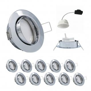 10er Set Einbauleuchte 5, 5W 3000K 230V 400lm Chrom inkl. austauschbare LED Modul geringe Einbautiefe