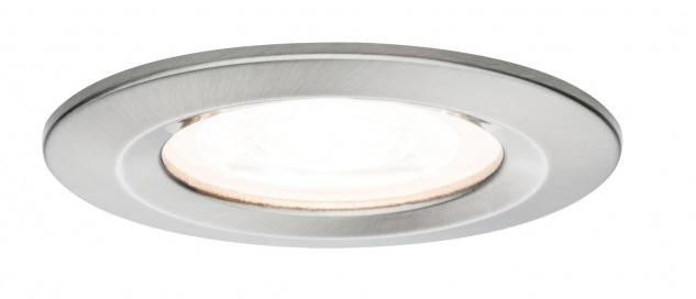 Paulmann Premium Einbauleuchte Set Nova rund dimmbar LED 1x7W 230V GU10 51mm Eisen gebürstet/Alu Zink